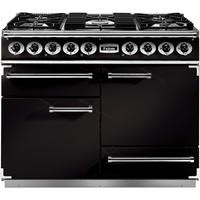 Falcon 76810 - 1092 Deluxe 110cm Dual Fuel Range Cooker - Black And Brass - Matt Pan Stands