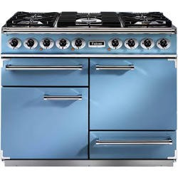 Falcon 80590 - 1092 Deluxe 110cm Dual Fuel Range Cooker - China Blue And Nickel - Gloss Pan Stands