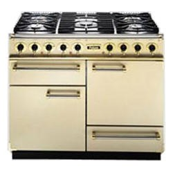 F1092DXDFCRBM Falcon 76800 - 1092 Deluxe 110cm Dual Fuel Range Cooker - Cream And Brass - Matt Pan Stands
