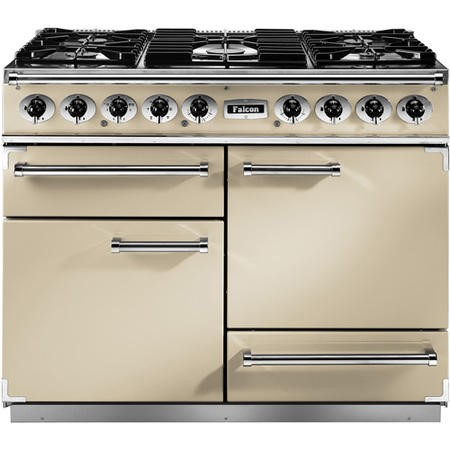 Falcon 69150 - 1092 Deluxe 110cm Dual Fuel Range Cooker - Cream And Chrome - Gloss Pan Stands