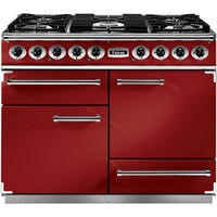 Falcon 87030 - 1092 Deluxe 110cm Dual Fuel Range Cooker - Cherry Red And Nickel - Matt Pan Stands