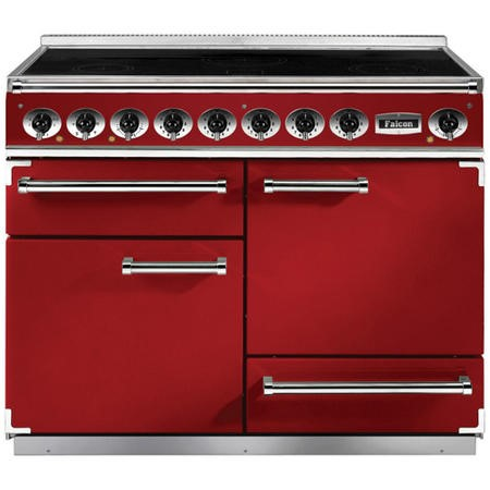 Falcon 87060 - 1092 Deluxe 110cm Electric Range Cooker With Induction Hob - Cherry Red And Nickel