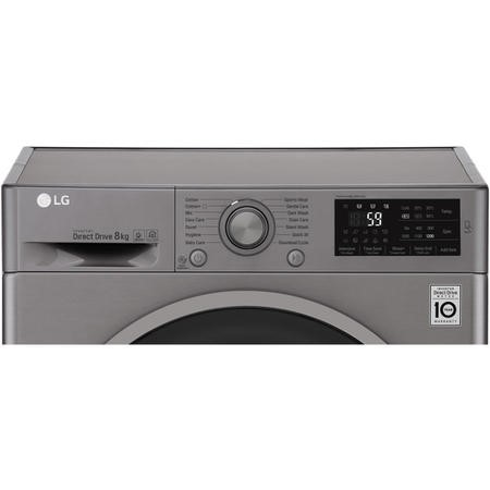 LG F2J6TN8S 8kg 1200rpm Freestanding Washing Machine - Shiny Steel