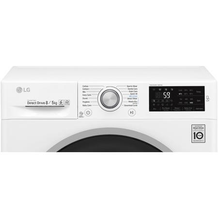 LG F4J6TM1W Direct Drive Smart 8kg Wash 5kg Dry Freestanding Washer Dryer - White