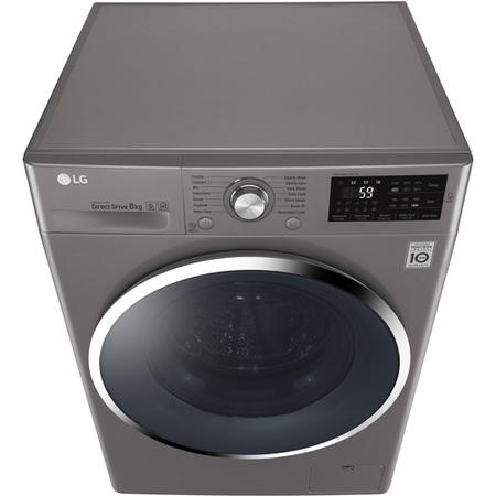 LG F4J6TN2S DirectDrive SmartThink Connectivity 8kg 1400rpm Freestanding Washing Machine-Shine Steel