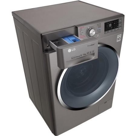 LG F4J8FH2S 9kg Wash 6kg Dry Eco Hybrid Freestanding Washer Dryer With True Steam And Smart ThinQ - Shiny Steel