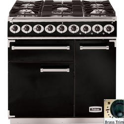 Falcon 69750 - 900 Deluxe 90cm Dual Fuel Range Cooker - Black And Brass - Gloss Pan Stands
