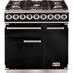 Falcon 77060 - 900 Deluxe 90cm Dual Fuel Range Cooker - Black And Chrome - Matt Pan Stands