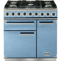 Falcon 80850 - 900 Deluxe 90cm Dual Fuel Range Cooker - China Blue And Nickel - Matt Pan Stands