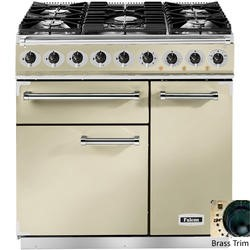 Falcon 77000 - 900 Deluxe 90cm Dual Fuel Range Cooker - Cream And Brass - Matt Pan Stands