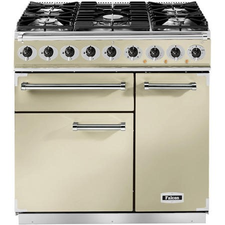 Falcon 69790 - 900 Deluxe 90cm Dual Fuel Range Cooker - Cream And Chrome - Gloss Pan Stands