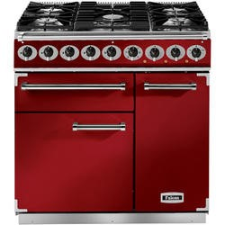 Falcon 87070 - 900 Deluxe 90cm Dual Fuel Range Cooker - Cherry Red And Nickel - Gloss Pan Stands
