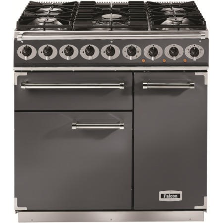 Falcon 10252 - 900 Deluxe 90cm Dual Fuel Range Cooker - Slate - Gloss Pan Stands