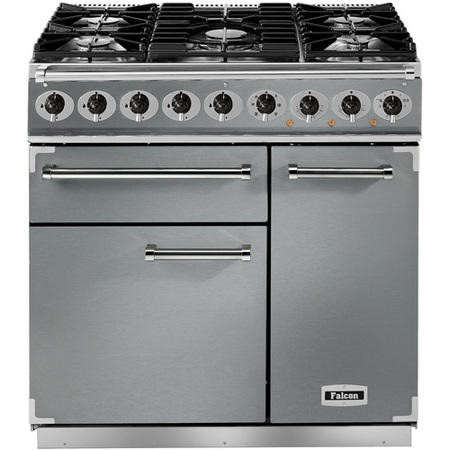 Falcon 69770 - 900 Deluxe 90cm Dual Fuel Range Cooker - Stainless Steel And Chrome - Gloss Pan Stands