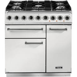 Falcon 82390 - 900 Deluxe 90cm Dual Fuel Range Cooker - White And Nickel - Gloss Pan Stands