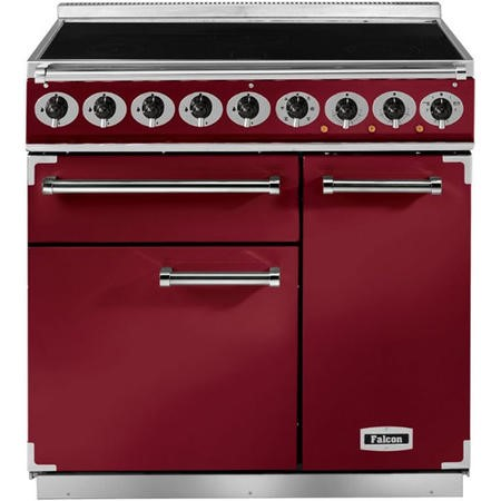 Falcon 85600 - 900 Deluxe Induction 90cm Electric Range Cooker - Cherry Red And Nickel