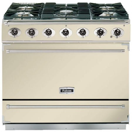 Falcon 87400 - 900S Dividable Single Oven 90cm Dual Fuel Range Cooker - Cream And Chrome - Matt Stands