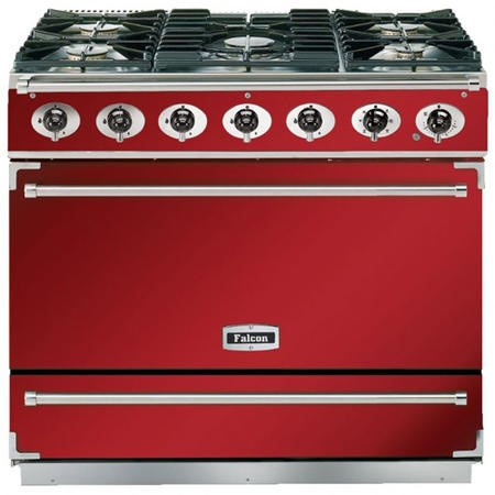 Falcon 85900 - 900S Dividable Single Oven 90cm Dual Fuel Range Cooker - Cherry Red And Brushed Chrome - Gloss Stands