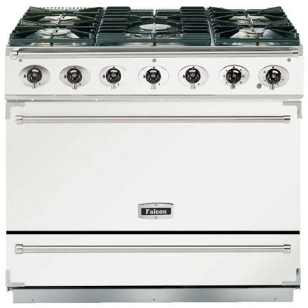 Falcon 87480 - 900S Dividable Single Oven 90cm Dual Fuel Range Cooker - White And Brushed Chrome - Matt Stands