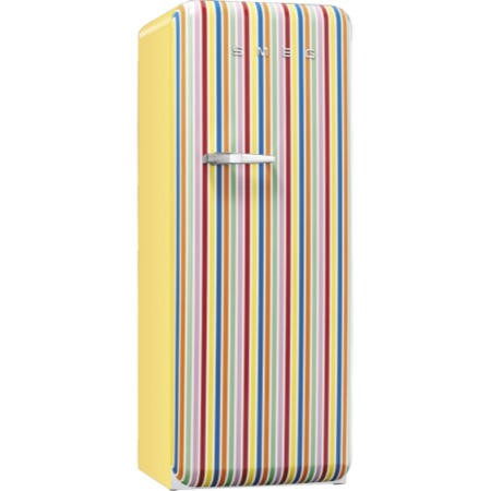 Smeg FAB28QCS1 50s Style Right Hand Hinge Freestanding Fridge with Ice Box in Candy Stripe
