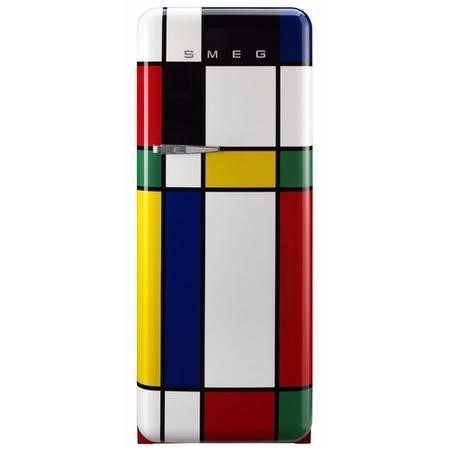 Smeg FAB28RDMC 60cm 50s Style Mondrian Limited Edition Right Hand Hinged Fridge With Icebox