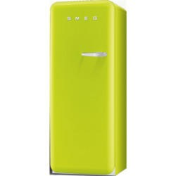 Smeg FAB28YVE1 50s Style Lime Green Left Hand Hinge Freestanding Fridge with Ice Box