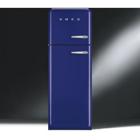 Smeg FAB30LFB Fifties Style Left Hand Hinge Top Mount Freestanding Fridge Freezer - Blue