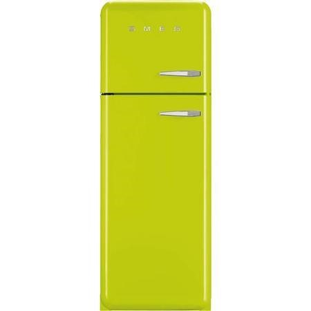 Smeg FAB30LFL Fifties Style Left Hand Hinge Top Mount Freestanding Fridge Freezer - Lime Green