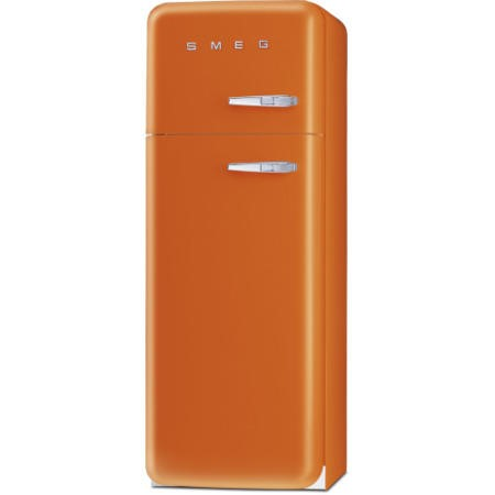 Smeg FAB30LFO Fifties Style Left Hand Hinge Top Mount Freestanding Fridge Freezer - Orange