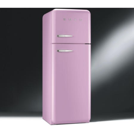 Smeg FAB30RFP Fifties Style Right Hand Hinge Top Mount Freestanding Fridge Freezer - Pink
