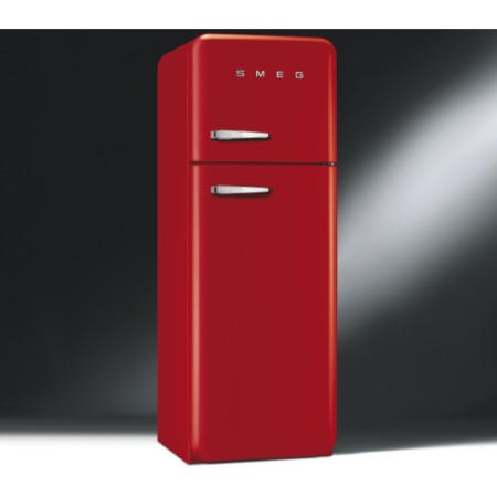 GRADE A2 - Smeg FAB30RFR Fifties Style Right Hand Hinge Top Mount Freestanding Fridge Freezer - Red