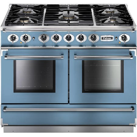 Falcon 79940 Continental 1092 110cm Dual Fuel Range Cooker - China Blue And Brushed Nickel - Gloss Pan Stands