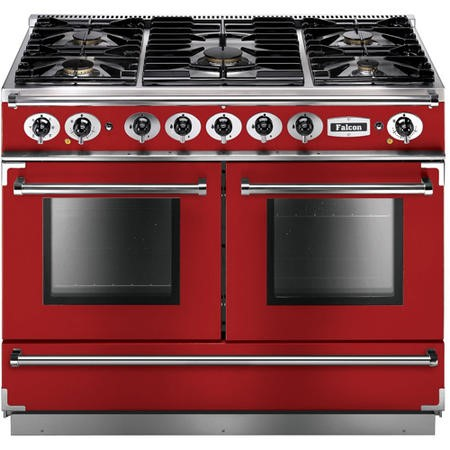 Falcon 87160 Continental 1092 110cm Dual Fuel Range Cooker - Cherry Red And Nickel - Matt Pan Stands
