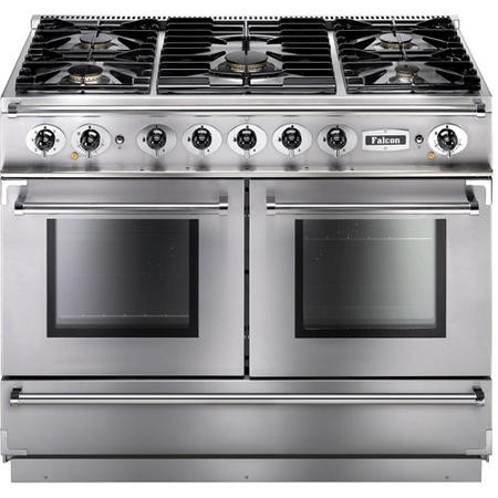 Falcon 79910 Continental 1092 110cm Dual Fuel Range Cooker - Stainless Steel Chrome - Gloss Pan Stands