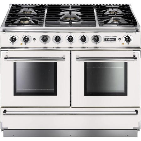 Falcon 82370 Continental 1092 110cm Dual Fuel Range Cooker - White And Brushed Nickel - Gloss Pan Stands