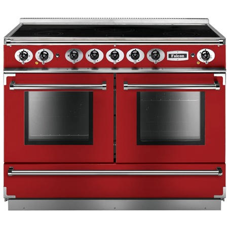 Falcon 87180 Continental 110cm Electric Range Cooker With Induction Hob - Cherry Red And Nickel