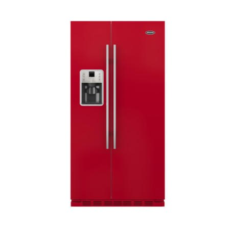 GRADE A3 - Britannia FF-MONTANA-R Montana American Fridge Freezer With Ice And Water Dispenser - Gloss Red