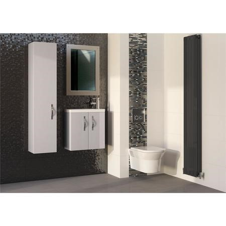 Cashmere Wall Hung Tall Bathroom Storage Unit - H1400mm