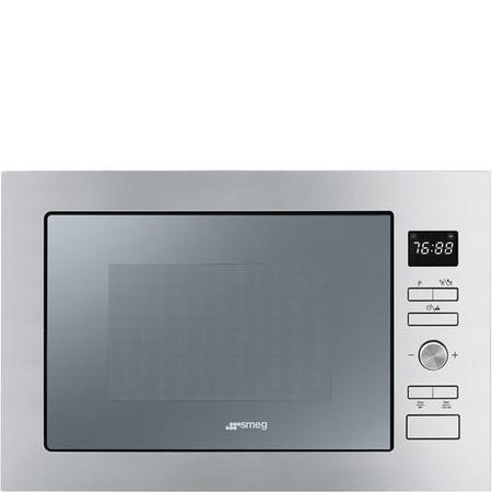 Smeg FMI425S Cucina 25L Built-in Microwave Oven And Grill - Silver Glass