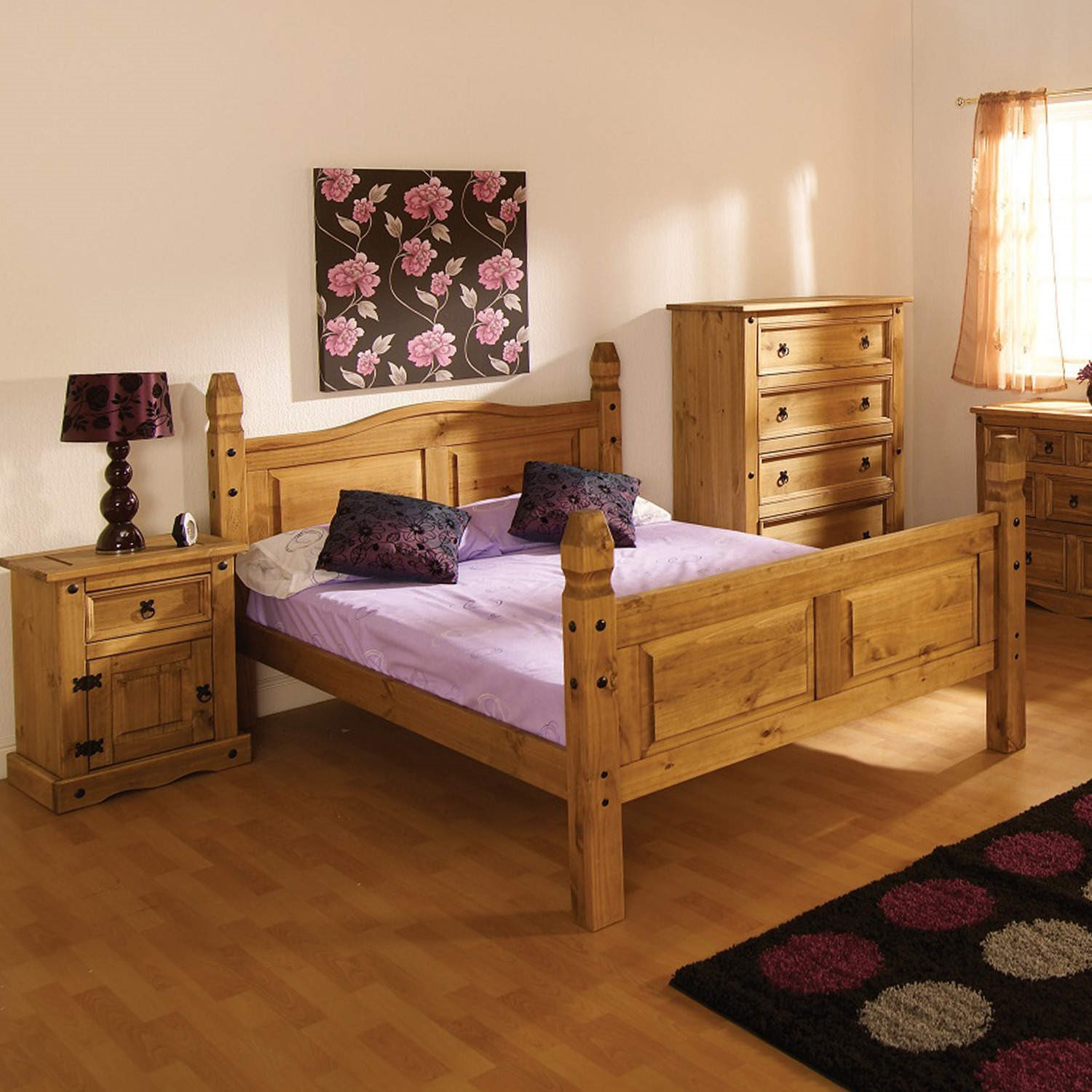 Modern corona mexican 5ft large king size bed in solid - King size contemporary bedroom sets ...