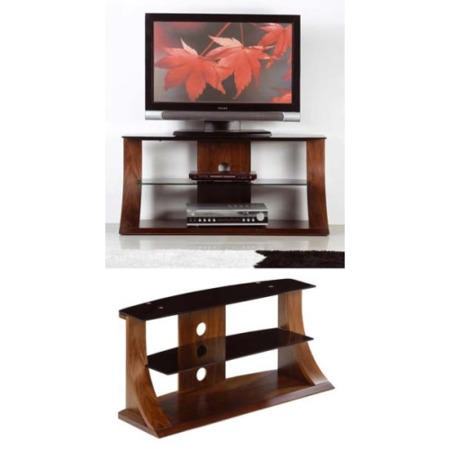Jual Furnishings Langdon Black Glass TV Stand in Walnut