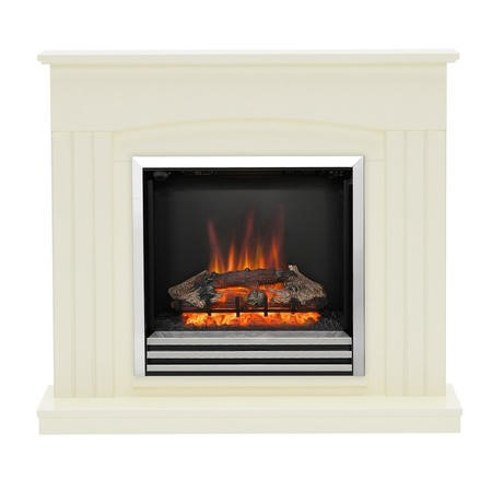 Be Modern Linmere Electric Fireplace Insert and Surround - Almond Stone Effect
