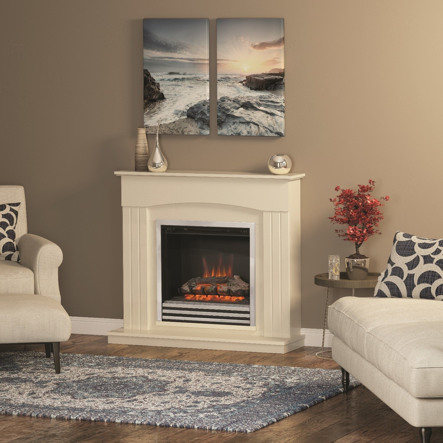Be Modern Linmere Almond Stone Effect Electric Fireplace Insert