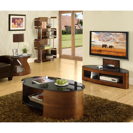 Jual Furnishings Curve Walnut & Glass Cantilever
