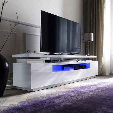 Evoque White High Gloss Soundbar TV Unit with LED Feature