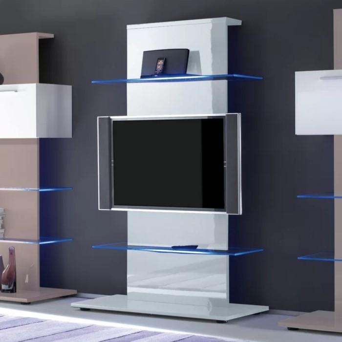 Evoque White High Gloss Led Tv Stand Media Unit Holds 65 Inch Tv