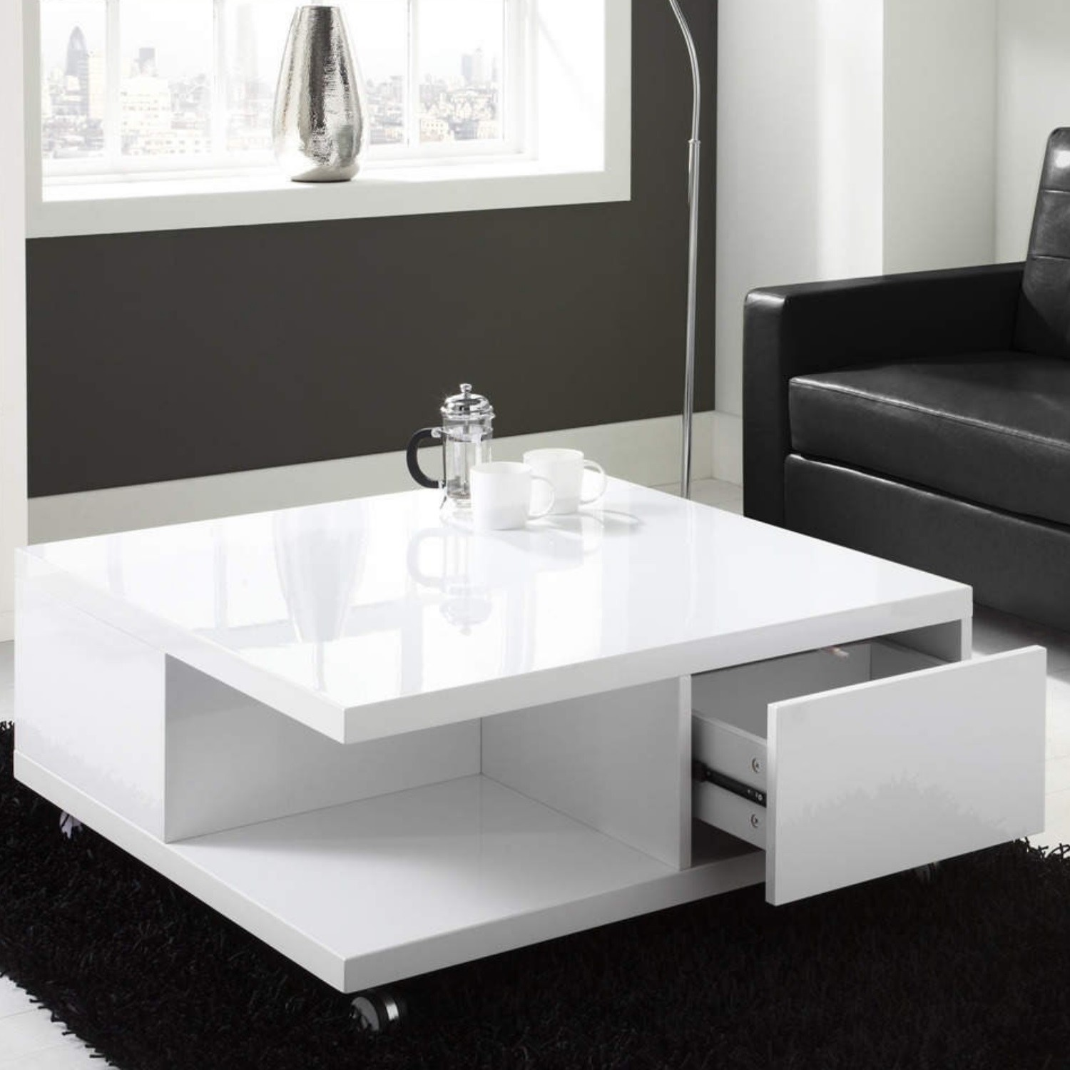 White High Gloss Coffee Table With Storage Drawers Tiffany Range