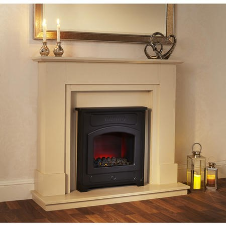 Suncrest Farnley Electric Fireplace Suite in Sandstone with Stove Effect Insert