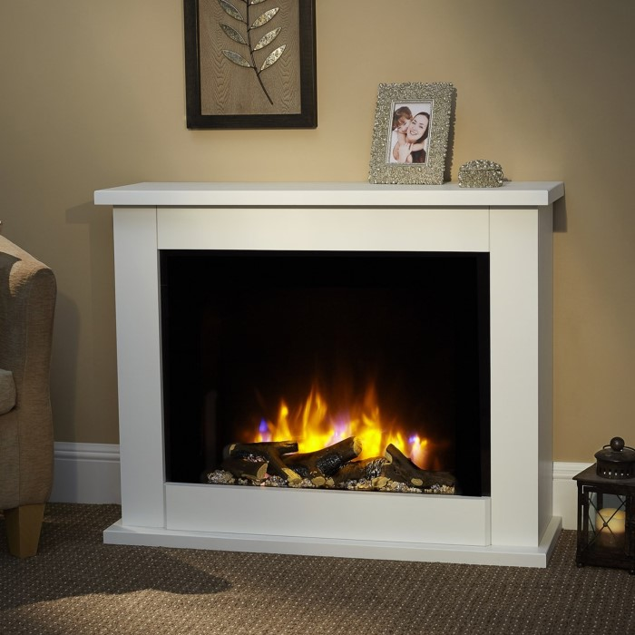 Suncrest Copley Electric Fireplace Suite In White With Wide Screen