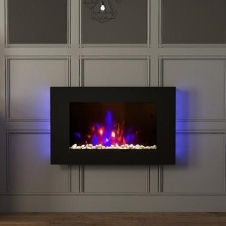 Azonto Slimline Wall Mounted Fire with Black Glass- Be Modern Range
